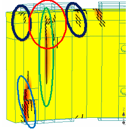Crack pattern in RC tubing in numerical simulation